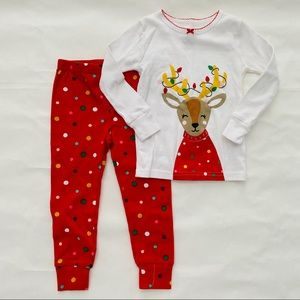 Carters Boys Girls Sleepwear Red Christmas Pajamas Reindeer Feet 1 Piece 24M